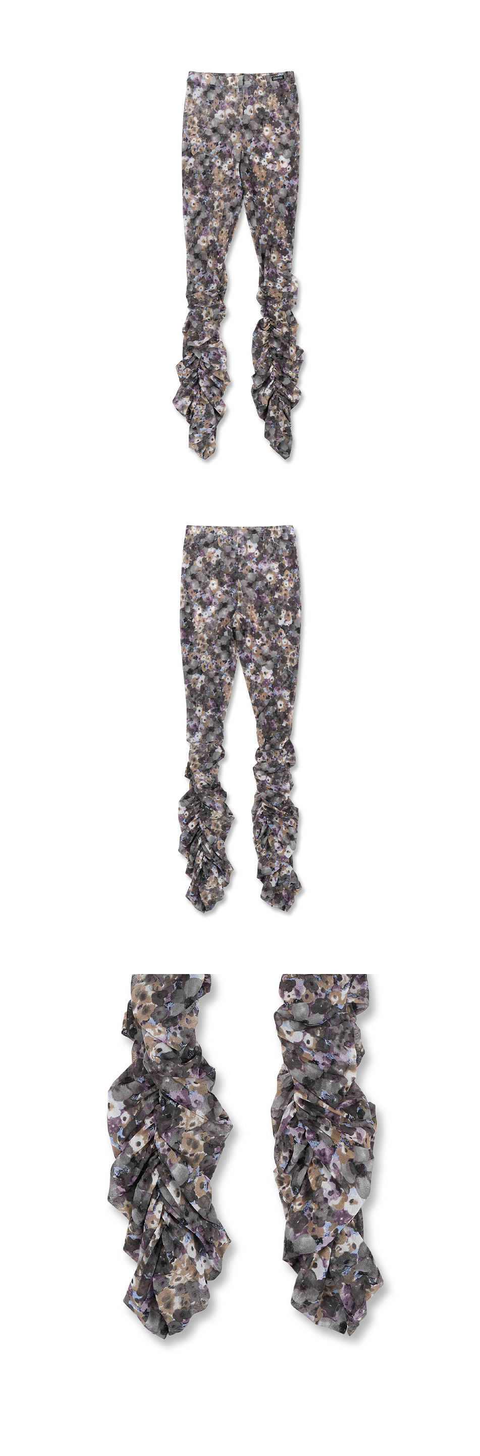 스컬프터(SCULPTOR) Shirring Flower Mesh Leggings Purple Bouquet
